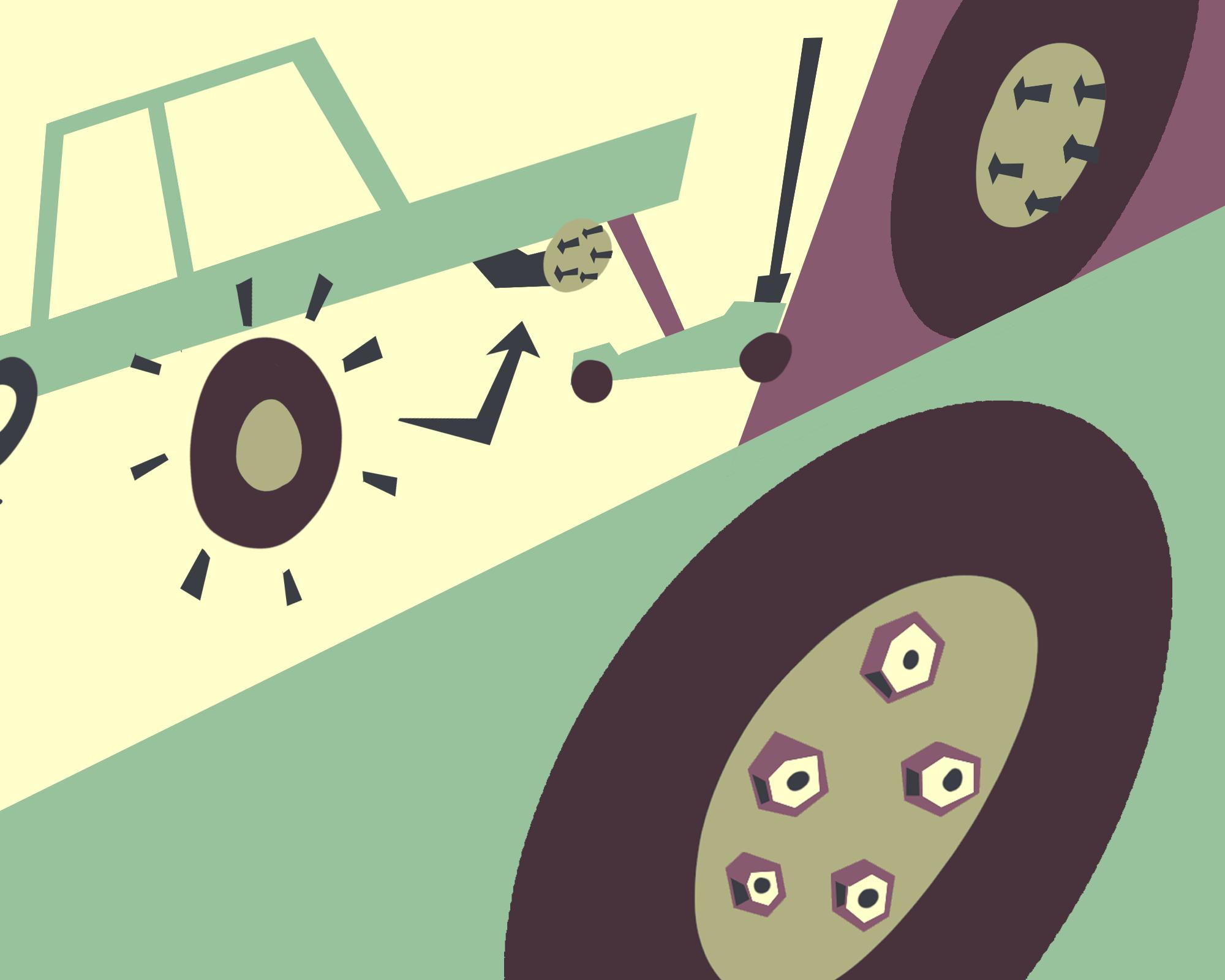 Change a tire: Align spare tire.
