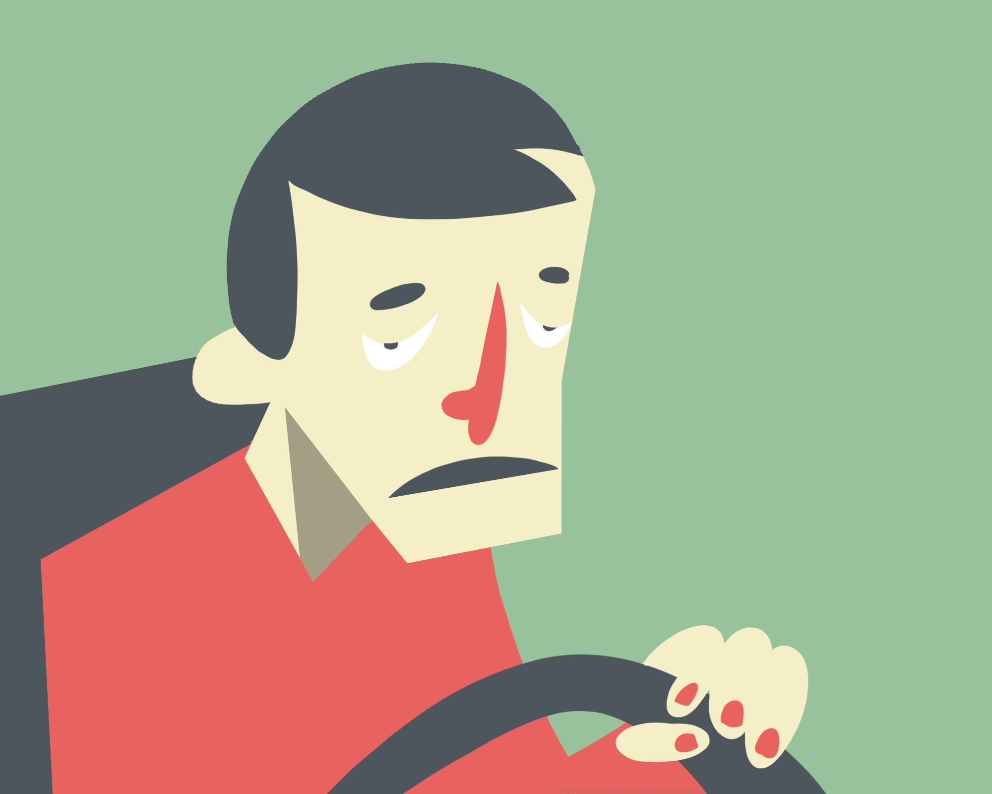 Falling asleep behind the wheel: Nodding head.